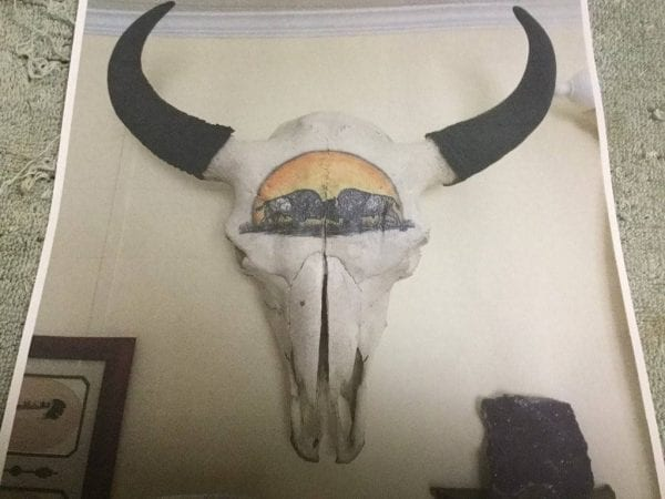 hand painted buffalo on skull