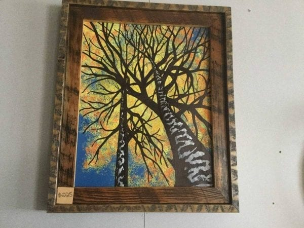 Hand Painted fall tree framed picture