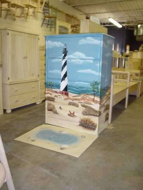 Custom Painted Beach Lighthouse Dresser