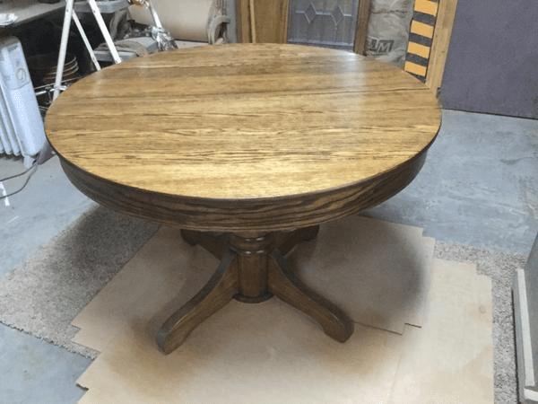 Refinished Oak Pedestal Table