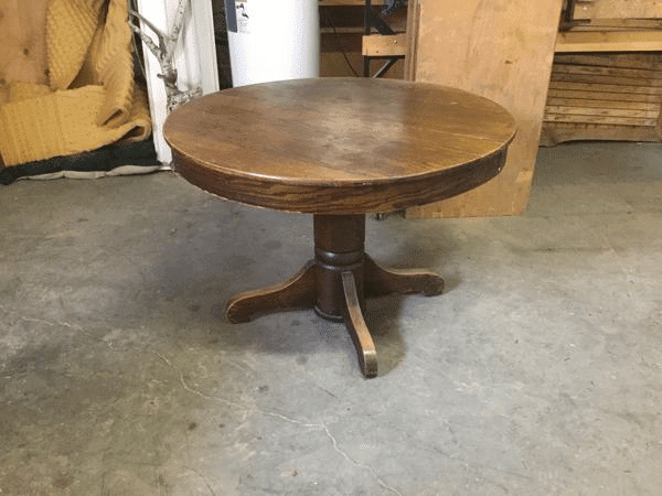 Damaged Round Wood Dining Table to Refinish