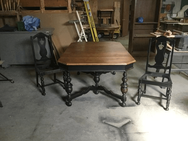 Refinished Wood Dining Table and Chairs