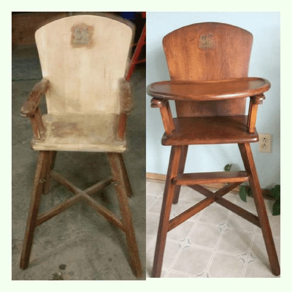 Refinished Antique Wood High Chair