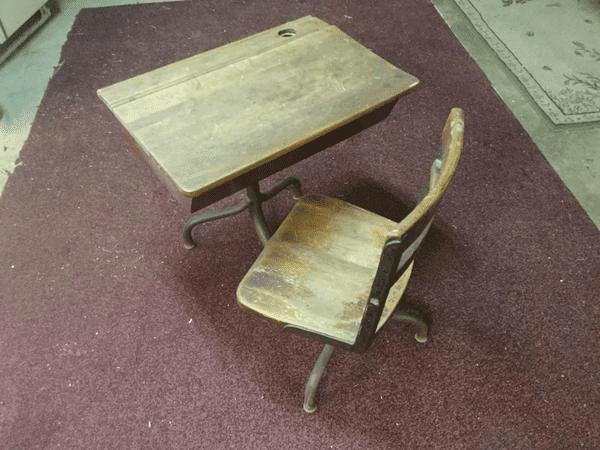 Antique Wood School Desk To Refinish