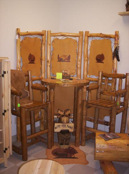 Custom Log Furniture Table and Chairs