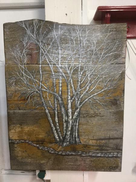 Hand Painted Trees on Wood
