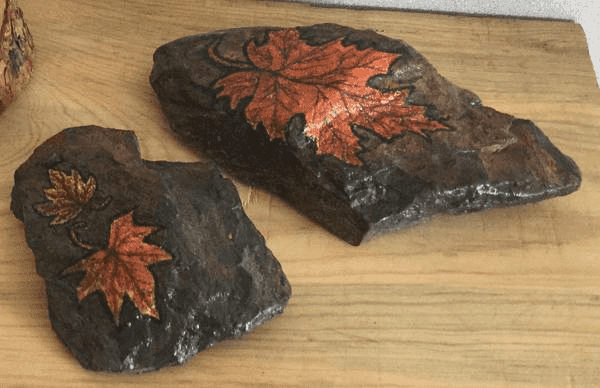 Hand Painted Leaves on Rock