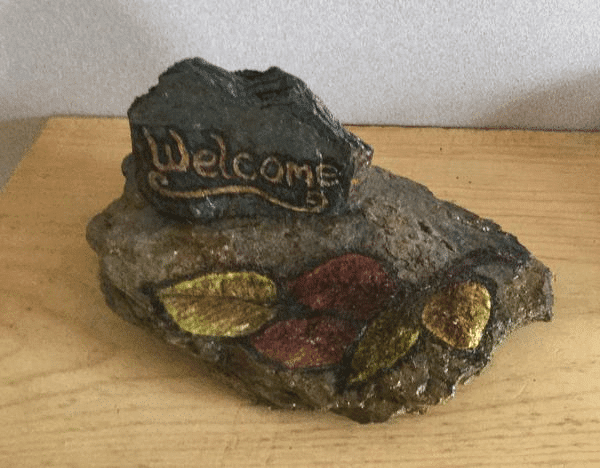 Hand Painted Welcome Rock