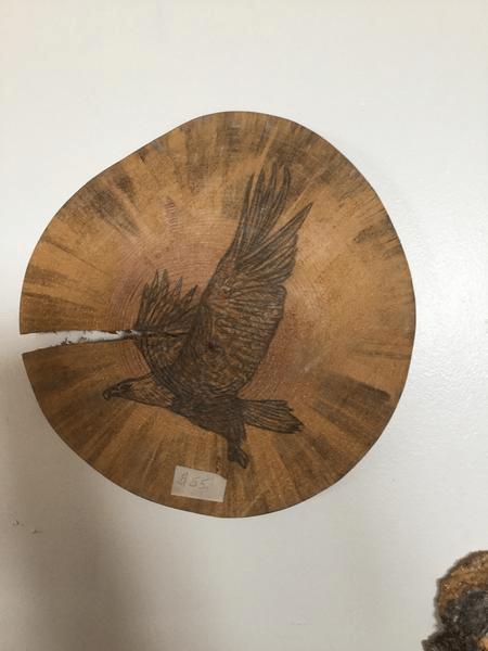 Hand Painted Eagle On Log