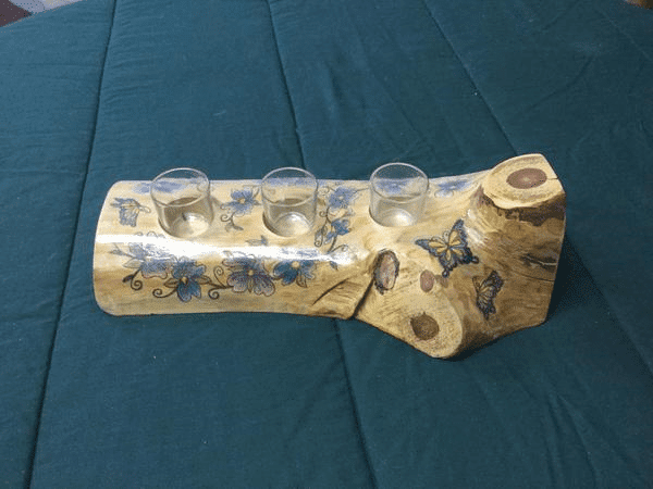 Hand Painted Log Candle Holder
