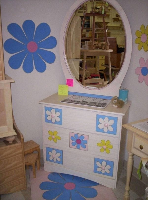 Custom Refinished and Painted Kids Dresser and Mirror