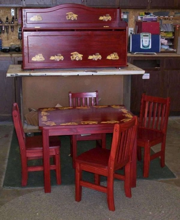 Custom Refinished Kids Table and Chairs and Toy Box