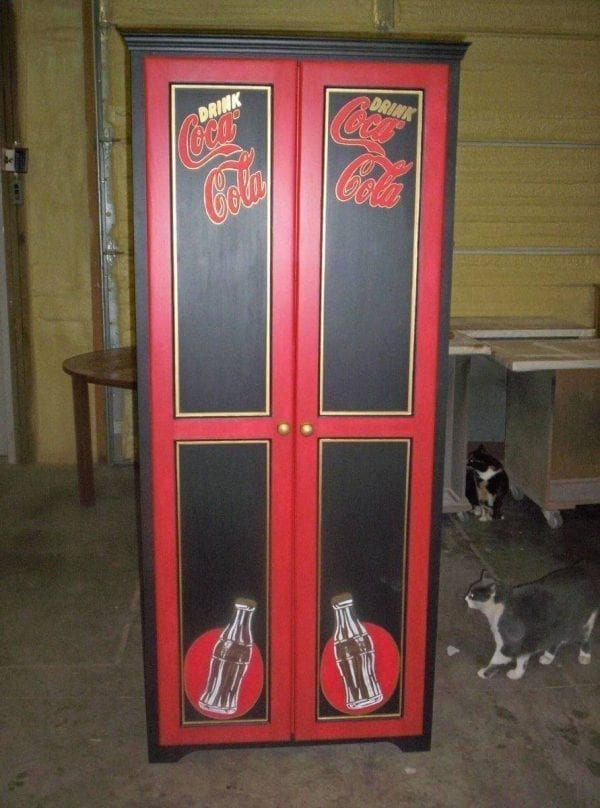 Coca-Cola custom painted kitchen cabinet