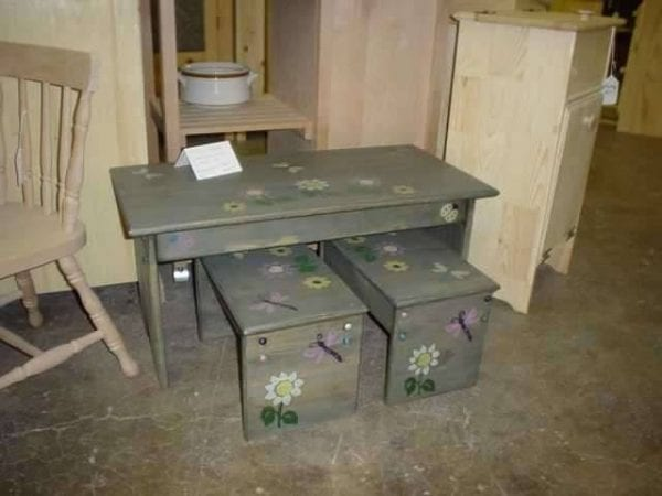 Custom Refinished Wood table and benches
