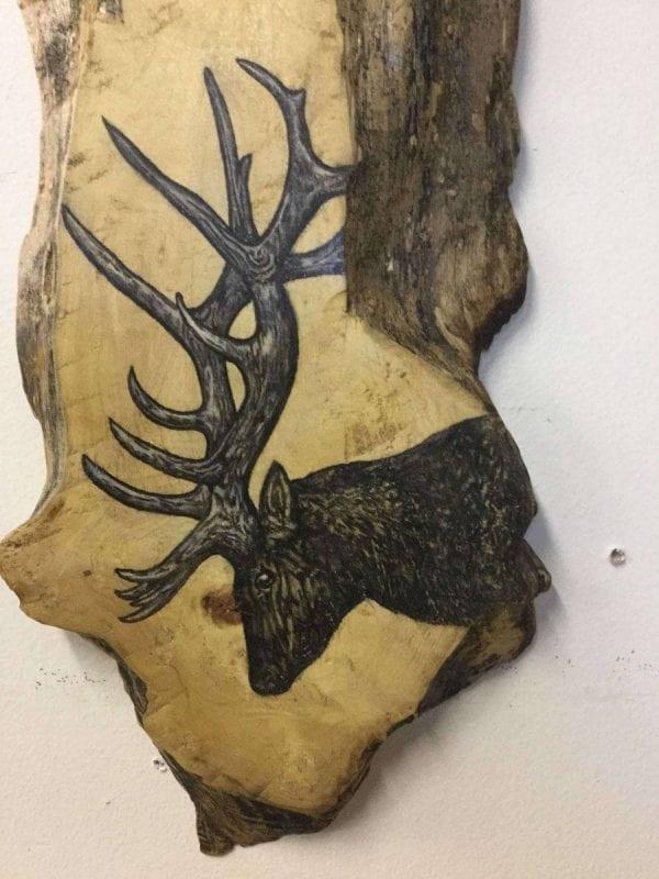 Hand Painted elk on log