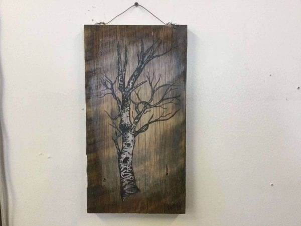 hand painted aspen tree on wood