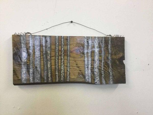 hand painted aspen trees on wood