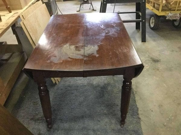 Before Damaged Wood Dining Table