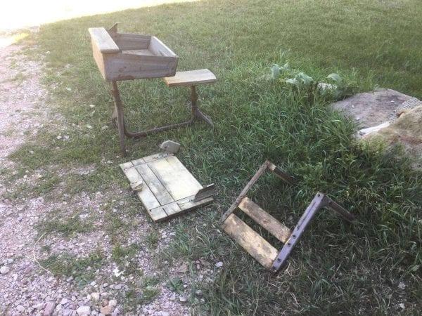 Before of Damaged Wood School Desk