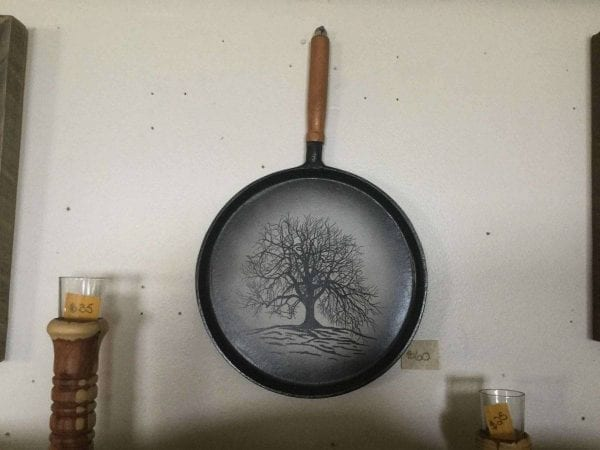 Hand painted tree on cast iron pan