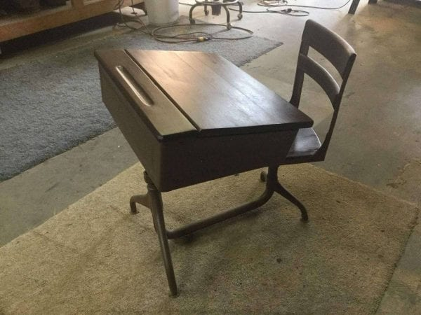 Refinished Wood School Desk