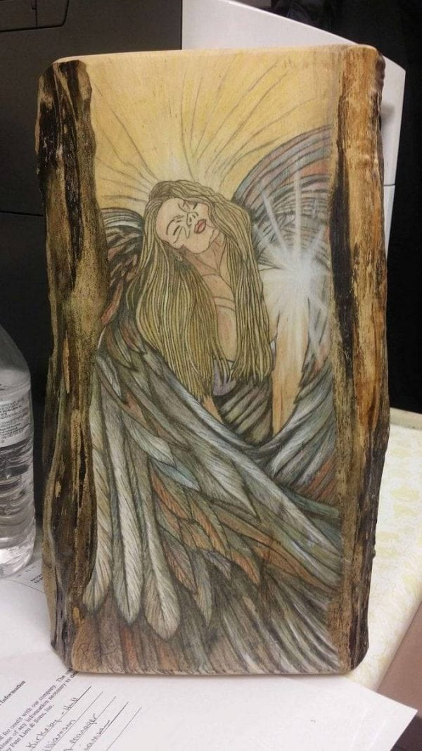 hand painted angel on wood