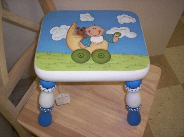 Custom Painted Baby Stool