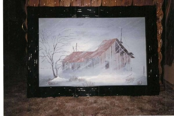Barn on Winter Day Painting