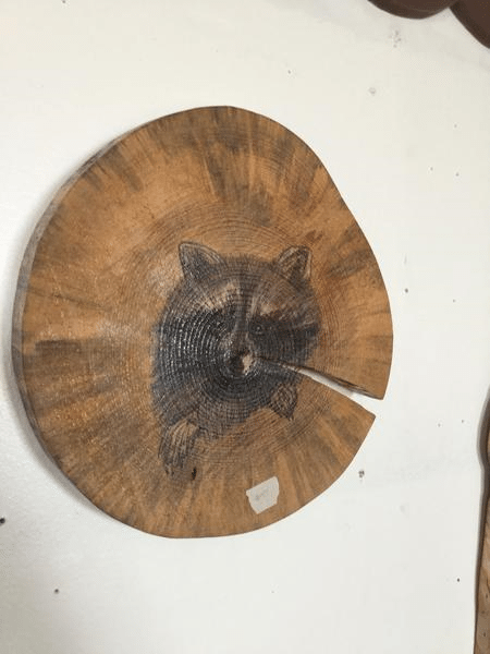 Custom Painted Raccoon on Log