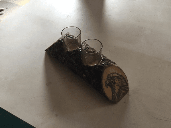 Custom Painted Log Candle Holder