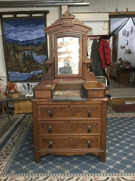 refinished Wood Dresser with mirror