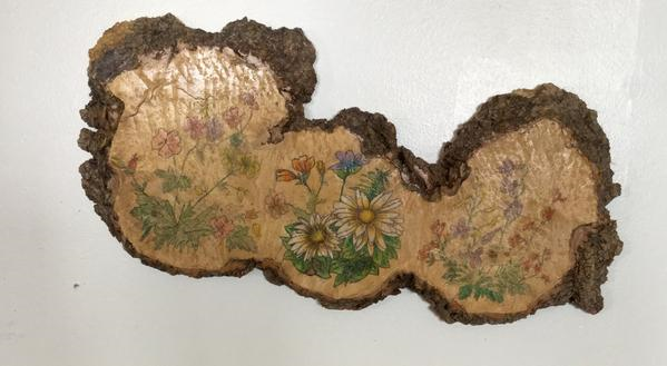 Hand Painted Flowers on Wood
