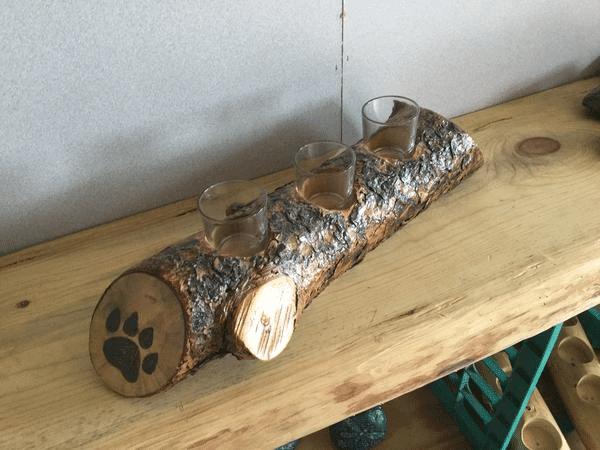 Custom Painted Log Candle Holder