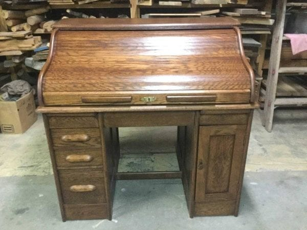 after refinished roll top desk