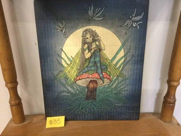 fairy on mushroom painting
