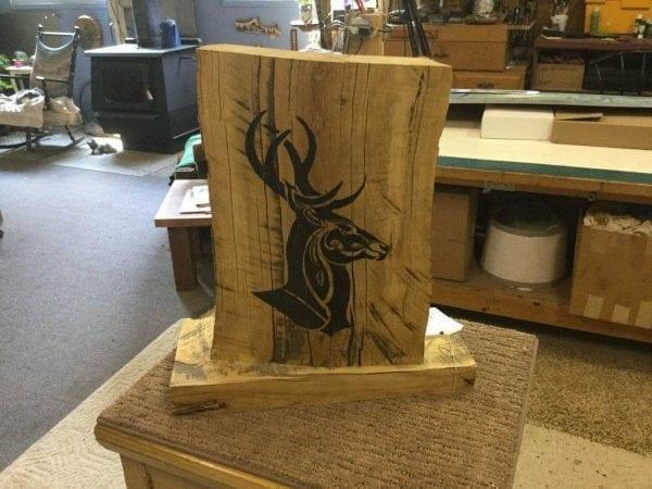 hand painted deer on wood