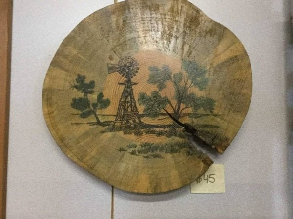 hand painted windmill on wood